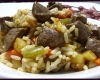 Riz aux sautés de légumes et foie