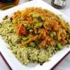 Sauté de carottes et fèves à la semoule